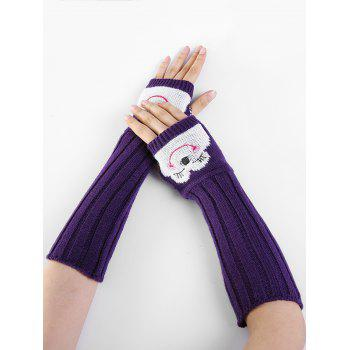 Funny Cartoon Pattern Embellished Knitted Fingerless Arm Warmers - PURPLE