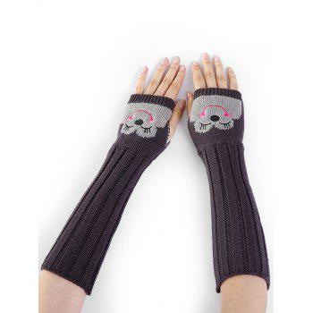 Funny Cartoon Pattern Embellished Knitted Fingerless Arm Warmers - DEEP GRAY DEEP GRAY