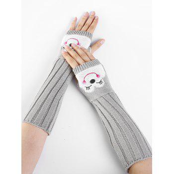 Funny Cartoon Pattern Embellished Knitted Fingerless Arm Warmers - LIGHT GRAY