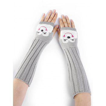 Funny Cartoon Pattern Embellished Knitted Fingerless Arm Warmers - LIGHT GRAY LIGHT GRAY