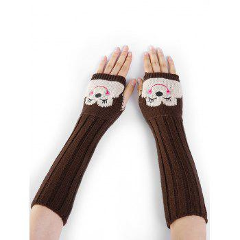 Funny Cartoon Pattern Embellished Knitted Fingerless Arm Warmers - COFFEE COFFEE