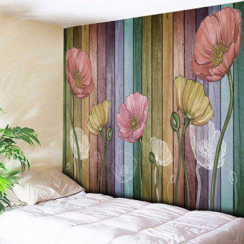 Flower and Wood Board Wall Hanging - WOOD COLOR W79 INCH * L59 INCH