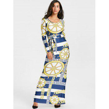 Tribal Print Bodycon Maxi Dress - COLORMIX XL