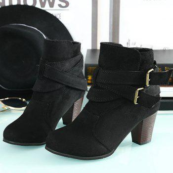 Buckle Strap Cone Heel Faux Suede Ankle Boots - BLACK 42