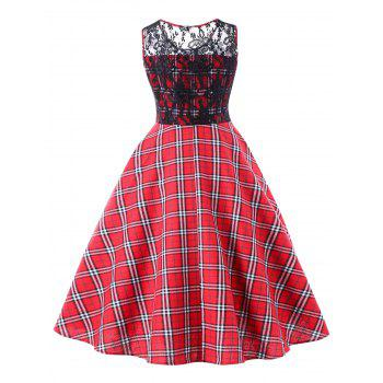 Lace Trim Plaid Sleeveless Swing Dress - RED 2XL