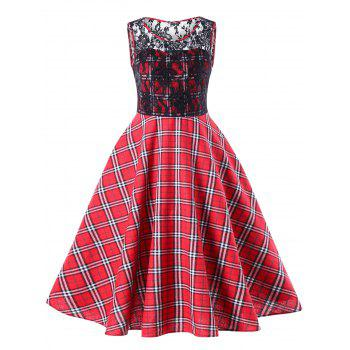Lace Trim Plaid Sleeveless Swing Dress - RED RED