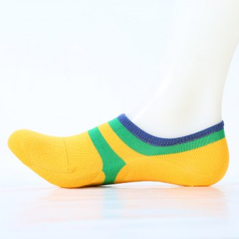 Pair of Stripe Pattern Embellished Cotton Ankle Socks - YELLOW YELLOW