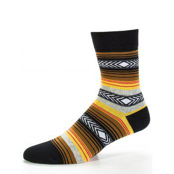 Simple Striped Pattern Decoration Tube Socks - YELLOW YELLOW