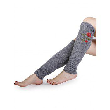 Rose Embroidery Color Splice Crochet  Knitted Leg Warmers - LIGHT GRAY LIGHT GRAY