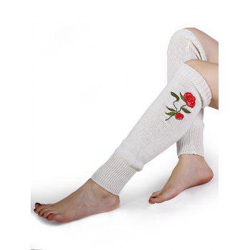 Rose Embroidery Color Splice Crochet  Knitted Leg Warmers - WHITE WHITE