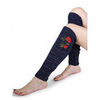 Rose Embroidery Color Splice Crochet  Knitted Leg Warmers - CADETBLUE CADETBLUE