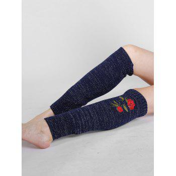 Rose Embroidery Color Splice Crochet  Knitted Leg Warmers -  CADETBLUE