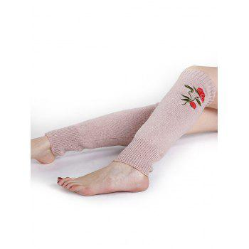 Rose Embroidery Color Splice Crochet  Knitted Leg Warmers - PINK PINK