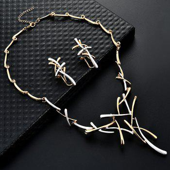 Branch Shape Statement Chainsaw Necklace and Clip Earrings - WHITE