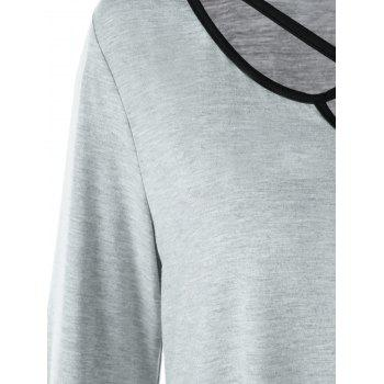 Asymmetrical Criss Cross Plus Size T-shirt - GRAY 5XL