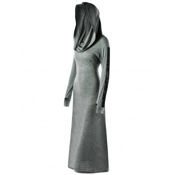 Convertible Collar Bodycon Maxi Dress - GRAY L