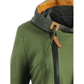 Plus Size Oblique Zipper Color Block Hoodie - ARMY GREEN 2XL