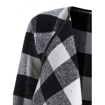 Drape Plus Size Plaid Coat - BLACK WHITE BLACK WHITE