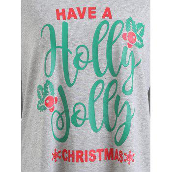 Plus Size Letter Christmas Long Sleeve Tee - GRAY GRAY