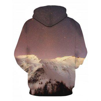 Snow Mountain Galaxy 3D Print Pullover Hoodie - COLORMIX 4XL