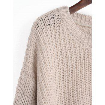 Buttoned High Low Side Slit Sweater - LIGHT APRICOT ONE SIZE
