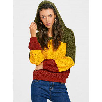 Contrast Hooded Chunky Sweater - YELLOW ONE SIZE