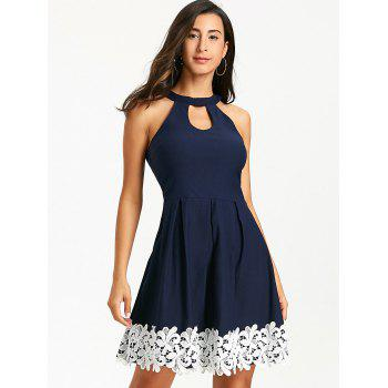 Floral Crochet Sleeveless Keyhole Skater Dress - PURPLISH BLUE XL