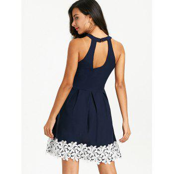 Floral Crochet Sleeveless Keyhole Skater Dress - PURPLISH BLUE L