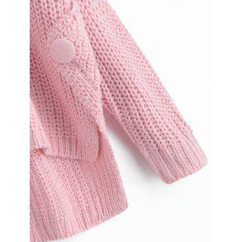 Buttoned High Low Side Slit Sweater - PINK ONE SIZE