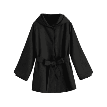 Belted Hooded Snap Button Coat - BLACK L