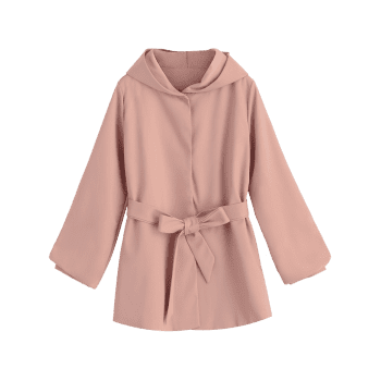 Belted Hooded Snap Button Coat - PINK S