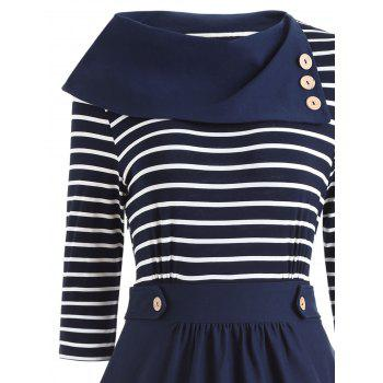 Button Embellished Striped Vintage Dress - BLUE BLUE