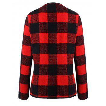 Drape Plus Size Plaid Coat - BLACK/RED 2XL