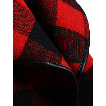Drape Plus Size Plaid Coat - BLACK/RED 3XL