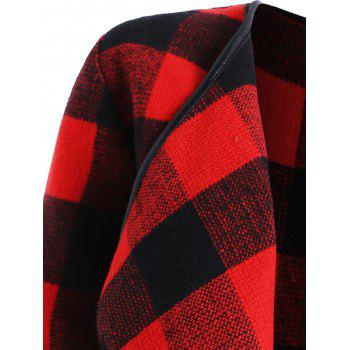 Drape Plus Size Plaid Coat - BLACK/RED 5XL