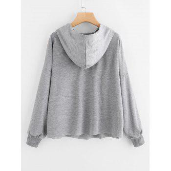 Contrasting Drawstring Oversized Hoodie - GRAY S