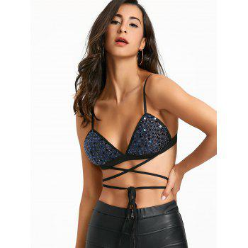 Lace Up Sequin Padded Bra Top - BLUE XL