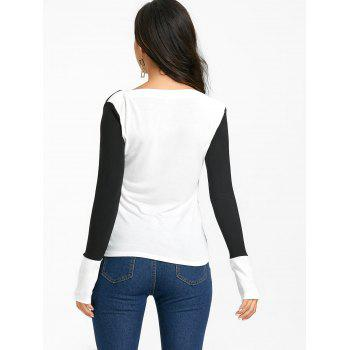 Boat Neck Color Block Knit Top - BLACK XL