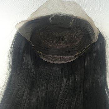 Long Deep Inclined Bang Straight Synthetic Lace Front Wig - BLACK