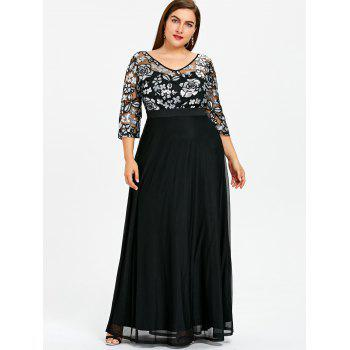 2018 Plus Size Sequined Floral Sheer Prom Dress BLACK XL In Dresses ...