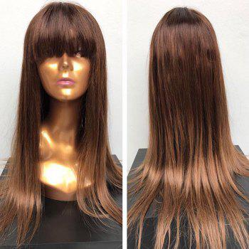 Long Full Fringe Straight Synthetic Wig - BROWN BROWN