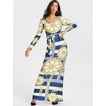 Tribal Print Bodycon Maxi Dress - COLORMIX M