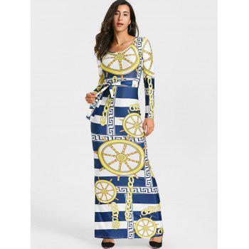 Tribal Print Bodycon Maxi Dress - COLORMIX L
