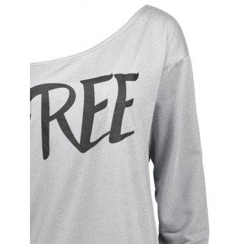 Free Print One Shoulder Sweatshirt - GRAY GRAY