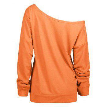 Free Print One Shoulder Sweatshirt - ORANGE M