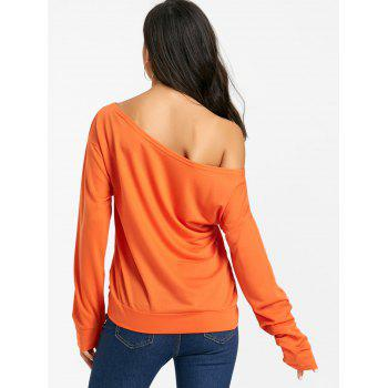 Free Print One Shoulder Sweatshirt - ORANGE ORANGE
