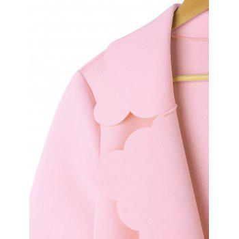 Scalloped Open Front Coat - PINK L