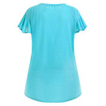 Plus Size Swing Plain Tee - LAKE BLUE 3XL
