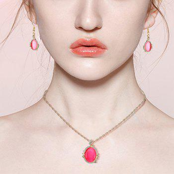 Faux Diamond Pendant Necklace with Earrings - RED