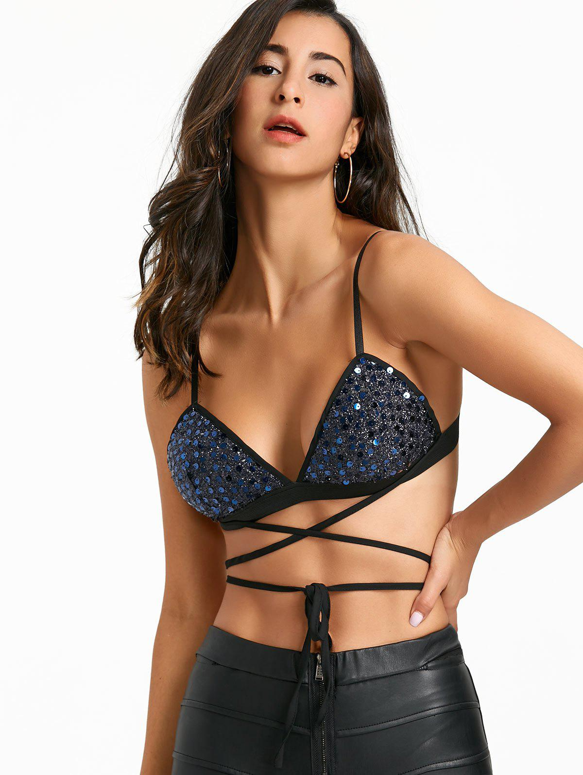 Lace Up Sequin Padded Bra Top - BLUE L